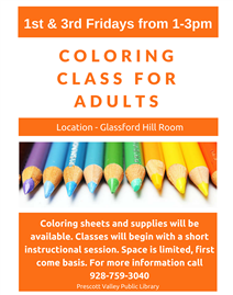 Coloring Class for Adults @ Prescott Valley Public Library    Prescott Valley   Arizona   United States