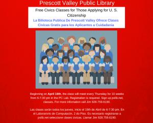 Free Civics Classes- For those applying for U S citizenship @ Prescott Valley Public Library  | Prescott Valley | Arizona | United States