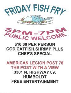 American Legion Post 78 Friday Fish Fry @ American Legion Post 78