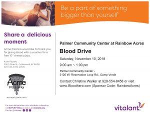 Blood Drive-Camp Verde @ Rainbow Acres Palmer Community Center