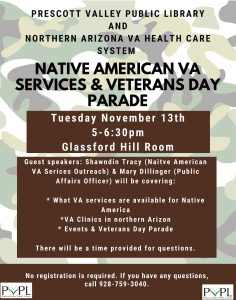 VA Workshops - Native American VA Services & Veterans Day Parade Info @ Prescott Valley Public Library