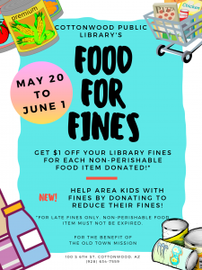 Food for Fines at the Cottonwood Public Library @ Cottonwood Public Library