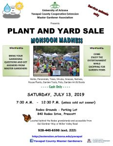 MASTER GARDENERS MONSOON MADNESS PLANT AND YARD SALE @ Prescott Rodeo Grounds Parking Lot