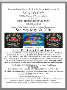 RADIO STATION APPEARANCE-Dewey Classic Cruisers Spring Car Show @ in front of Sally B's Cafe