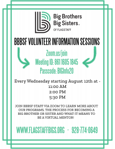 Big Brothers Big Sisters Flagstaff Virtual Info Session