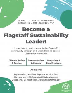 Fall 2021 Flagstaff Sustainability Leaders Course-Registration Deadline