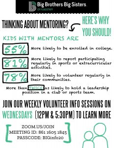 Virtual Volunteer Info Sessions on Mentoring with Big Brothers/ Big Sisters Flagstaff